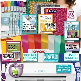 Silhouette Cameo 3 Bundle - Guide Oracal Vinyl, Tools, Pens, 12 Designs Hook