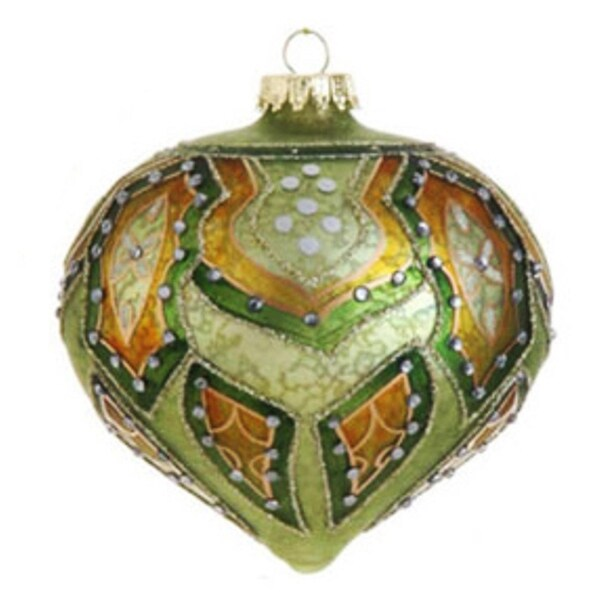 "4"" Green and Orange Matte Jeweled Glittery Glass Onion Christmas Ornament"