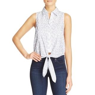 MICHAEL Michael Kors Womens Button-Down Top Collar Printed