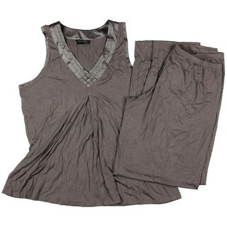 Midnight By Carole Hochman Womens Modal Satin-Trim Pajama Set - S