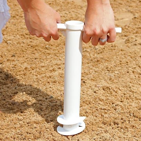 Sunnydaze Beach Umbrella Anchor Stand Outdoor Sand Auger Screw-In - Heavy-Duty - White