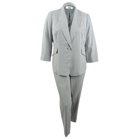 Le Suit Women's Plus Size Pinstriped Pantsuit (20W, Black/White) - Black/White - 20W