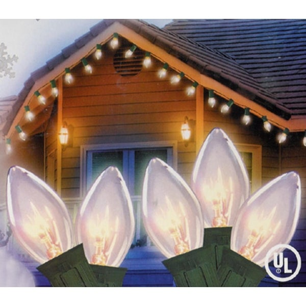 """Set of 25 Transparent Clear C7 Twinkle Christmas Lights 12"""" Spacing - Green Wire"""