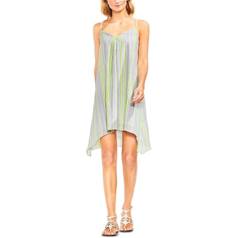 Vince Camuto Womens Shift Dress Handkerchief-Hem Striped