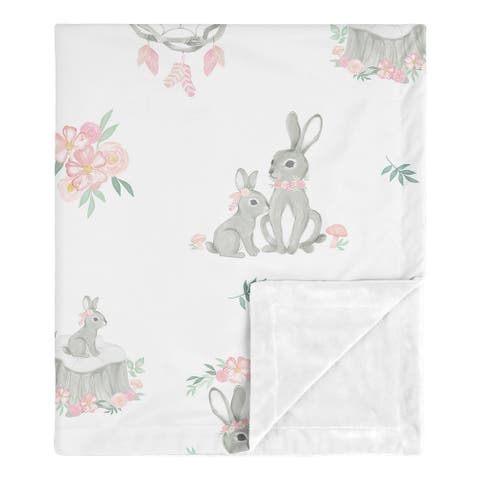 Woodland Bunny Collection Girl Baby Receiving Security Swaddle Blanket - Blush Pink and Grey Boho Floral Watercolor Rose Flower