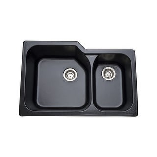"Rohl 6337 33"" Allia Double Basin Undermount Fireclay Kitchen Sink with Large Lef"