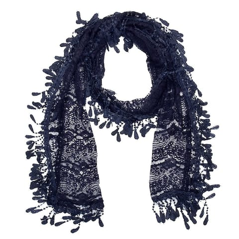 "Women's Sheer Lace Scarf with Fringe - Navy - 70"" x 11"""