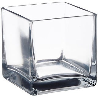 "Afloral Clear Cube Glass Vase 6"" x 6"" - 6 x 6 x6"