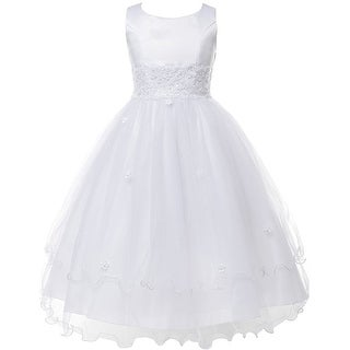 Communion Dress Embroidery Top Tulle Skirt KD 198