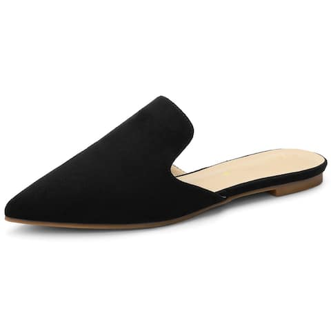 Women's Pointed Toe Flat Slides Mules