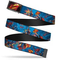 Superman Pop Art Shield Fcg Black Gray Red Yellow  Chrome Superman Web Belt