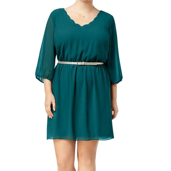 BCX Green Gold Womens Size 2X Plus Belted Scalloped A-Line Dress