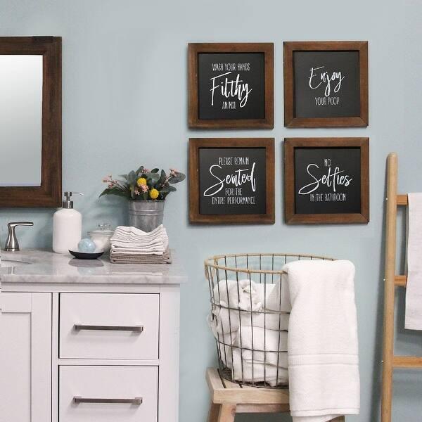 Stratton Home Decor Set Of 4 Bathroom Wall Art Black Walnut Overstock 30594281