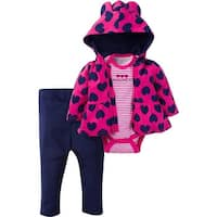 Gerber Baby 3 Piece Hooded Jacket, Bodysuit and Pant Set, Hearts