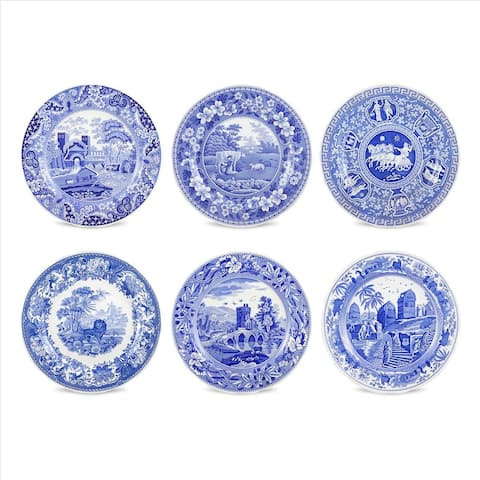 Spode Blue Room Set of 6 Traditions Plates - Blue/White - 10.5 inch