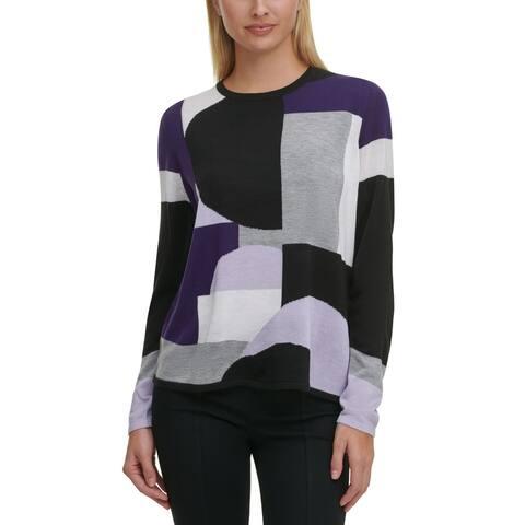 Calvin Klein Women's Sweater Purple Size Medium M Colorblock Pullover