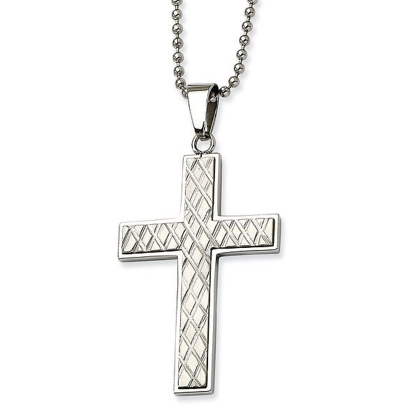 Chisel Stainless Steel Fancy Cross Pendant 24 Inch Necklace (1 mm) - 24 in