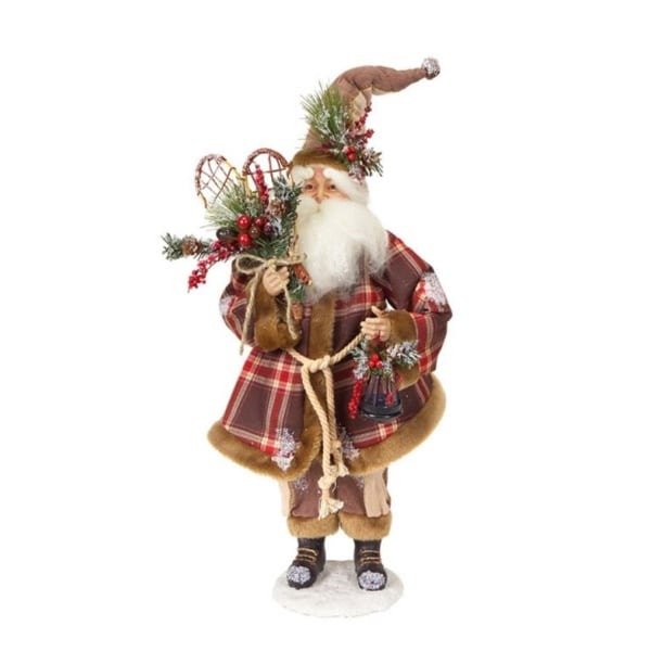 """20"""" Modern Lodge Iced Santa Claus Christmas Figure with Plaid Coat & Snow Shoes"""
