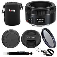 Canon EF 50mm f/1.8 STM Lens w/ 49mm UV Filter & Lens Pouch Accessory Bundle