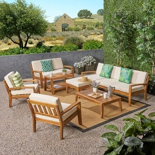 Link to Grenada Outdoor 7-seat Acacia Sectional Set by Christopher Knight Home Similar Items in Patio Sets