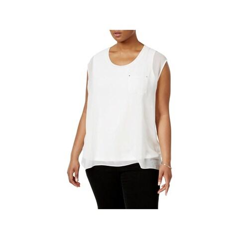 Calvin Klein Womens Plus Dress Top Layered Cap-Sleeve