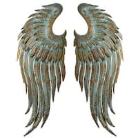 Set of 2 Assorted Antique Style Arctic Blue and Gold Patina Angel Wings Wall Decor