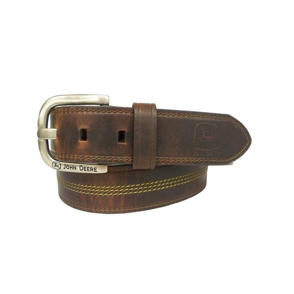 John Deere Western Belt Mens 38MM Silver Finish Brown
