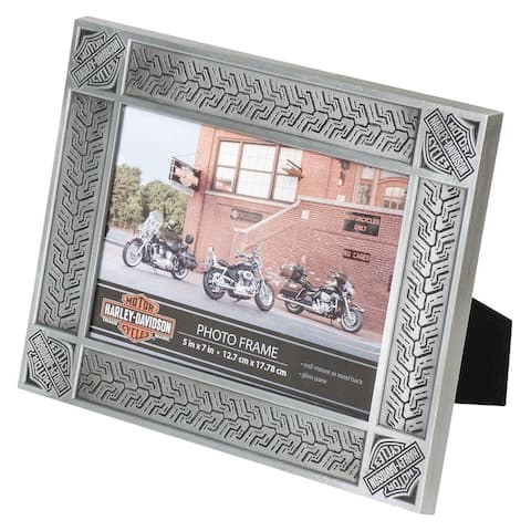 """Harley-Davidson Tire Tread Tin Plated Picture Frame -Holds 5 x 7 Photo HDX-99171 - 9.8"""" x 7.8"""" x 0.5"""""""