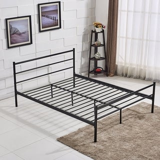 queen size platform bed frame metal mattress foundation with stable headboard and 10 leg