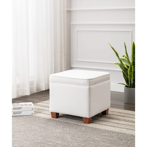 WOVENBYRD Square Storage Ottoman with Piping and Lift Off Lid