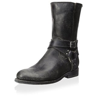 Frye Womens Jayden Leather Harness Mid-Calf Boots