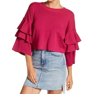 Elodie NEW Pink Women Size XS Cropped Ruffle-Sleeve Knitted Sweater