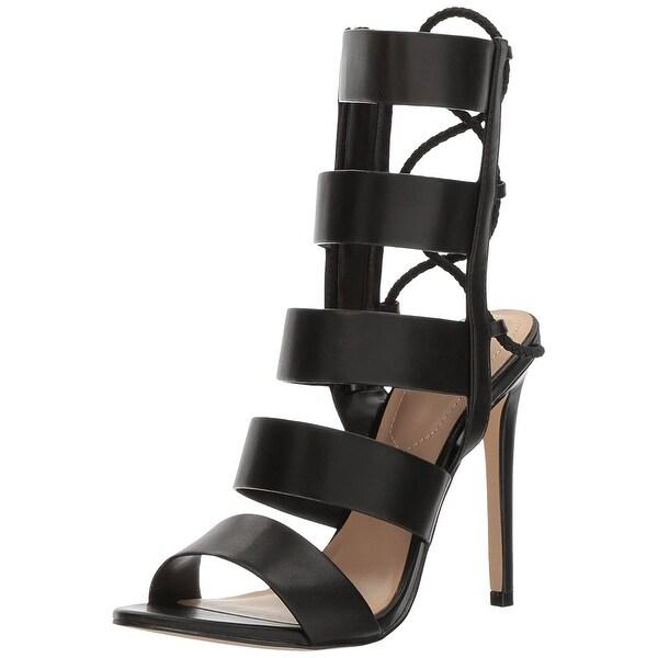 ALDO Women's Hawaii Gladiator Sandal, Black Synthetic, Size 8.5