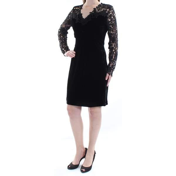 a5ba8de6c53 Shop ELIE TAHARI Womens Black Lace Velvet Long Sleeve V Neck Above The Knee  Sheath Dress Size  8 - Free Shipping Today - Overstock - 21314752