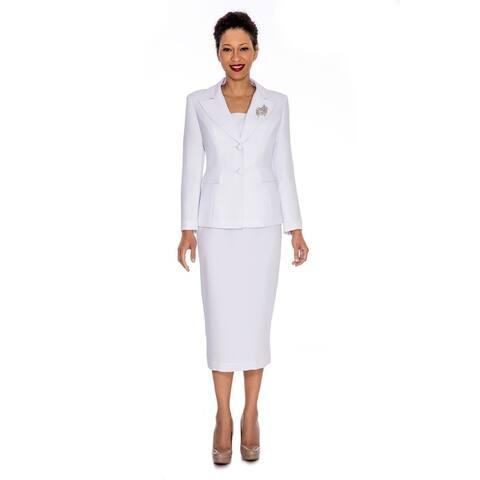 Giovanna Signature Women's Washable 2-button Mock 3-piece Skirt Suit