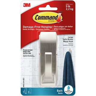 Command Modern Reflections Bath Hook 1/Pkg-1 Hook & 2 Strips