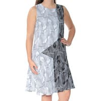 VINCE CAMUTO Womens Black Printed Sleeveless Jewel Neck Above The Knee Shift Dress  Size: 6