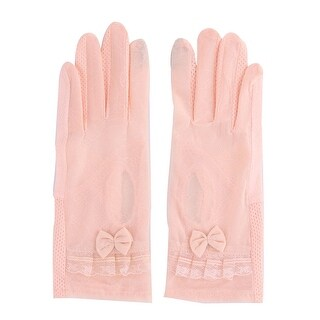 Lady Summer Outdoor Lace Bowknot Decor Non-slip Ride Car Sun Gloves Pair