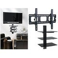 2xhome - TV Wall Mount with 3 Shelves Up to 85 inches TV Floating Shelf with Strengthened Tempered Glass - Thumbnail 0