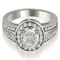 1.30 cttw. 14K White Gold Halo Oval Cut Diamond Engagement Diamond Ring - Thumbnail 0