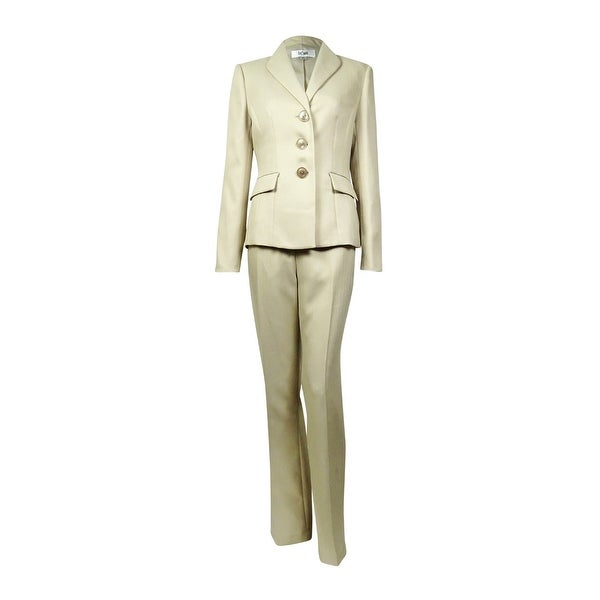 e27742688d Le Suit Women  x27 s Peaked Lapel Three Button Herringbone Pant Suit - Taupe