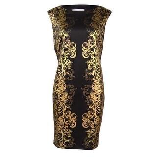 Sandra Darren Women's Panel Scuba Sheath Petite Dress - Black/gold - 8P