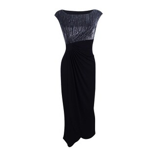 Connected Women's Plus Size Crinkled Metallic Faux-Wrap Gown