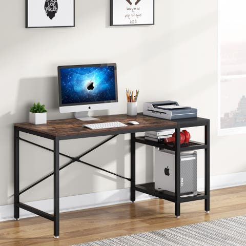 51 Inch Writing Study Desk with Storage Shelves, Computer Desk for Home