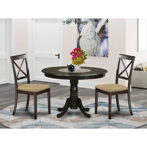 3-piece Dining Set Included 1 Round Table and 2 Kitchen Chairs in Cappuccino (Finish Option)