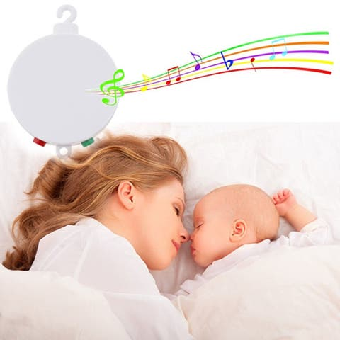 Rotary Baby Cot Mobile Crib Bed Toys Wind-up Music Box Infant Bell Hanging Decor - Silver - M
