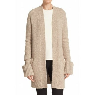 Theory NEW Beige Womens Size Large L Ribbed Cardigan Wool Sweater