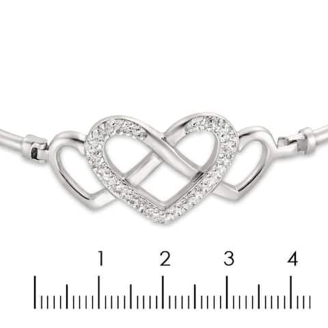 Sterling Silver Bypass Bangle With Jrt/Whitr Crystal Balls Bead