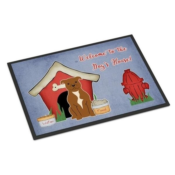 Carolines Treasures BB2801MAT Dog House Collection Staffordshire Bull Terrier Brown Indoor or Outdoor Mat 18 x 0.25 x 27 in.