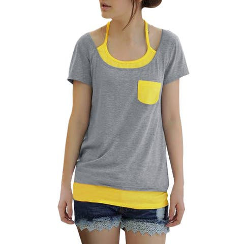 Unique Bargains Lady Layered Pocket Top Summer Tee Shirt - Gray - L